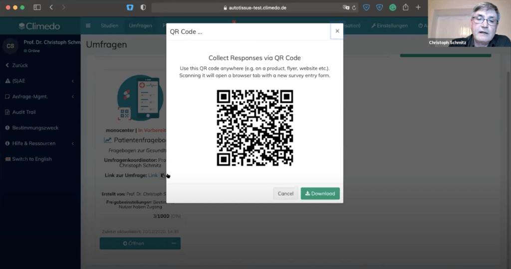 klinische umfrage qr code